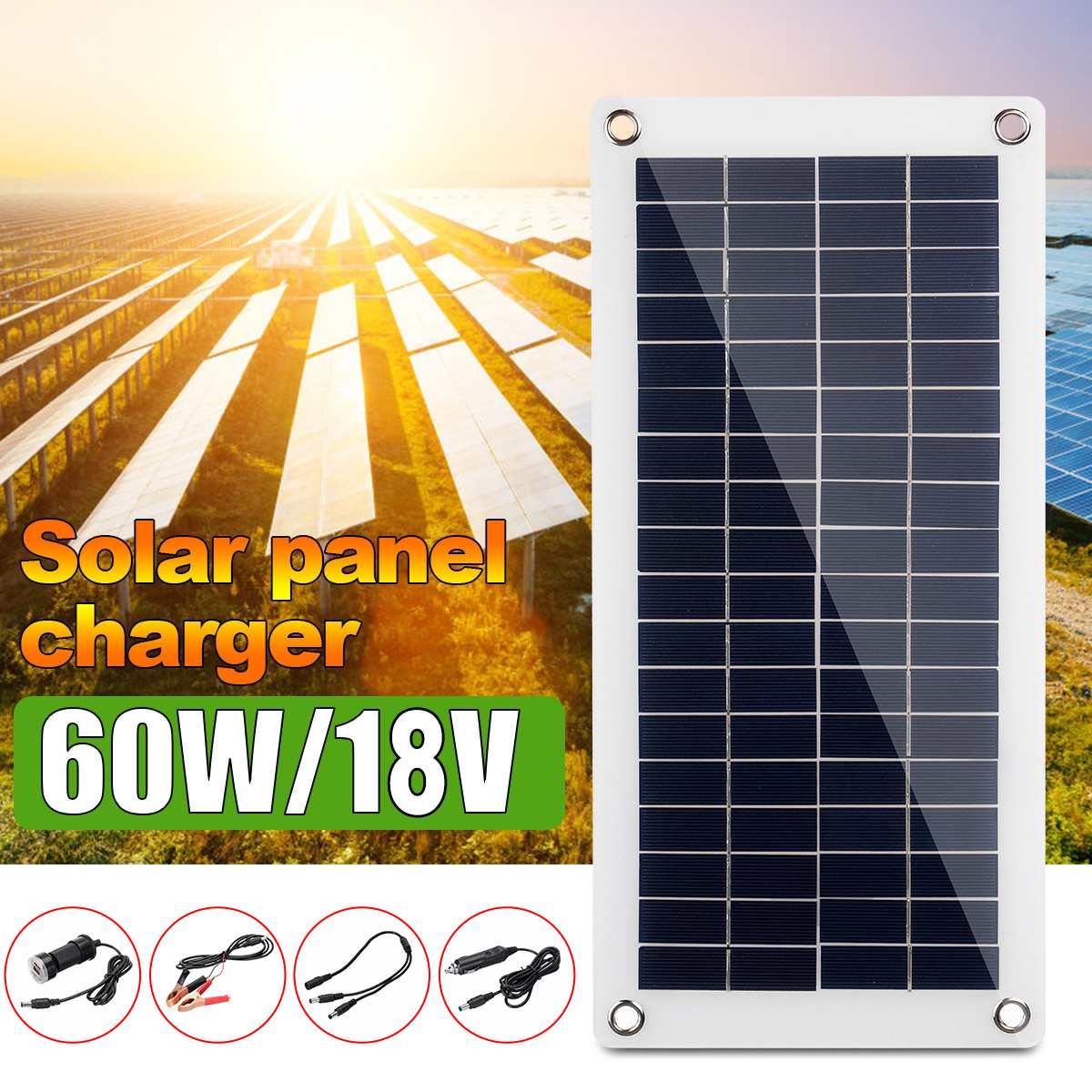 Panel Solar Flexible de 18V 60W 10A-30A, cargador de coche para RV, barco, pantalla LCD, controlador de carga de Panel Solar PWM