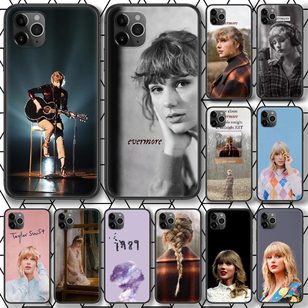 Taylor alison swift evermore telefone estojo para iphone 4 4S 5 5S se 5c 6s 7 8 plus x xs xr 11 12 mini pro max 2020 preto celular