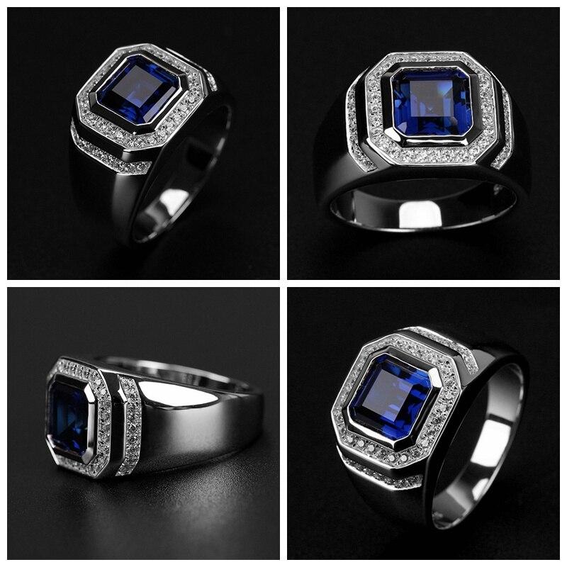 Bague en pierre bleue de mode pour hommes bijoux cadeau anneaux masculins Anel 6-13 US grande taille