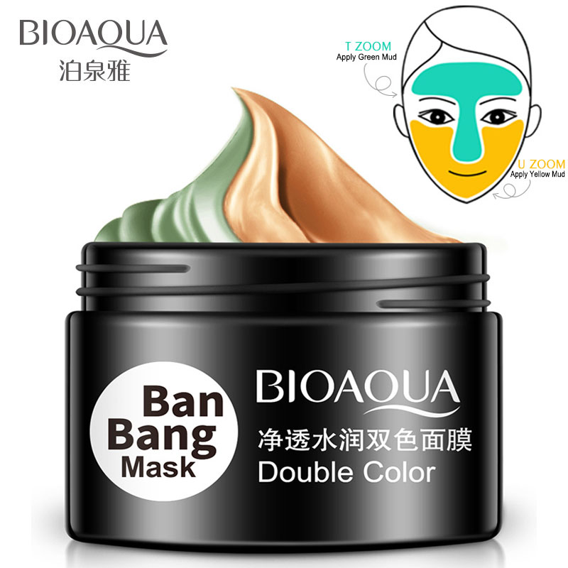 BIOAQUA Ban Bang Double Color Face Mask Moisturizing Cream For Deep Cleaning Skin Pore Acne Blackhead Treatment Facial Care