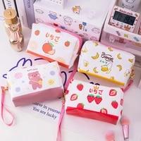 kawaii cartoon cosmetics bag for girls pu toiletry box large capacity waterproof portable travel storage pouch