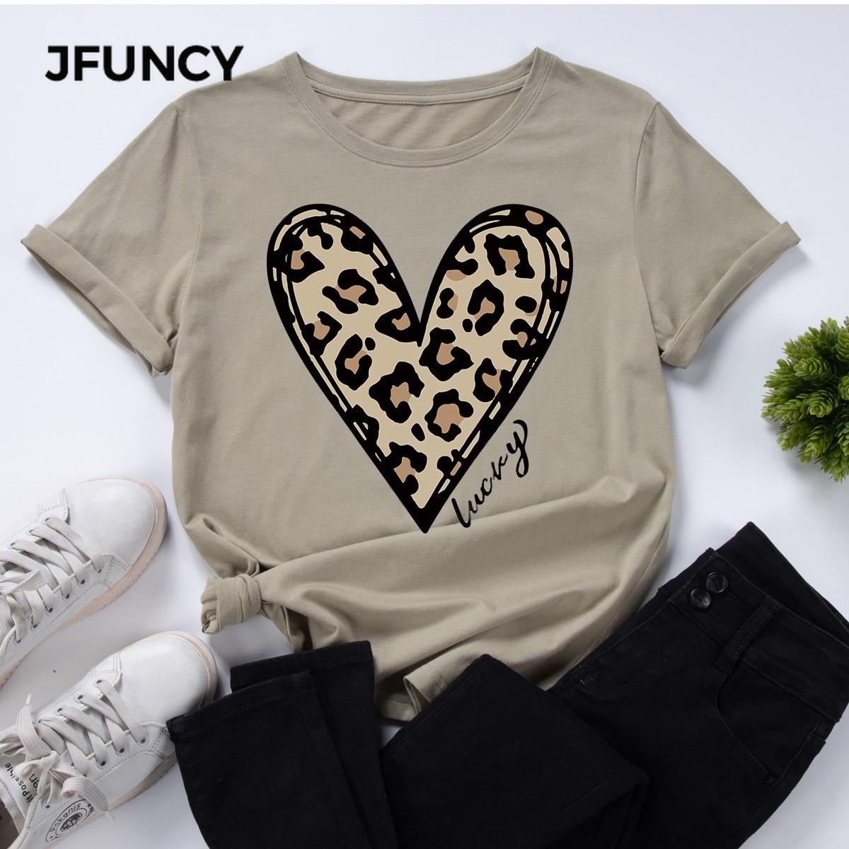 JFUNCY женская футболка, женская летняя футболка с коротким рукавом и принтом Love, женская одежда, хлопковая футболка, повседневная женская фут...