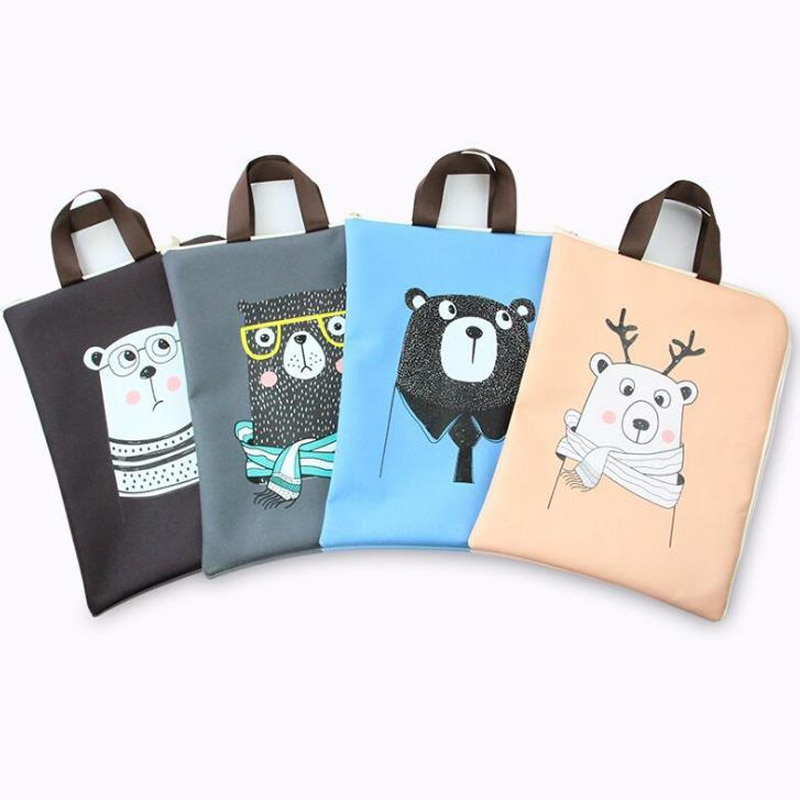 1 piezas de dibujos animados A4 Animal oso documento bolsas de carpeta de archivo de la tela de Oxford organizador de almacenamiento para la presentación de productos de papelería regalos