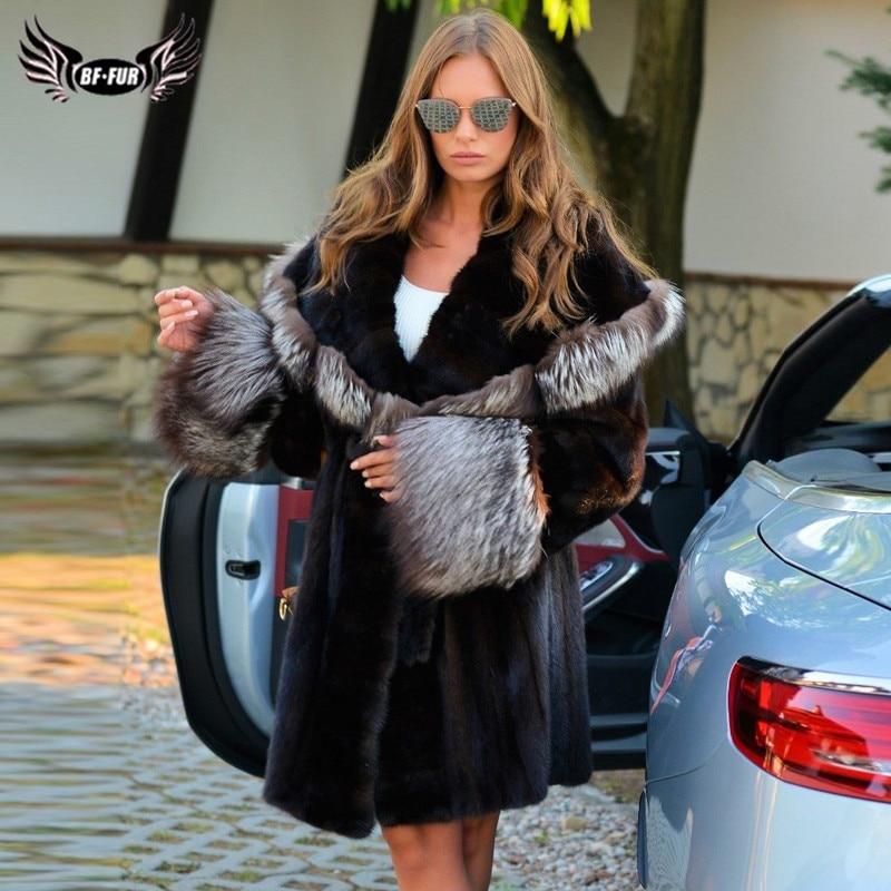 BFFUR 90 см длинные шубы из натурального меха норки с большим мехом серебряной лисы с отложным воротником 2021 новые зимние модные женские шубы и...