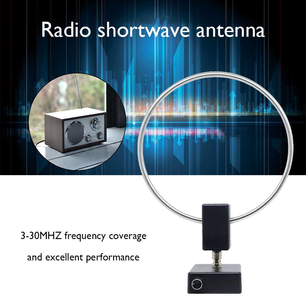 GA450 Ring Active Receiving Antenna VOA Shortwave Short Wave Radio Antenna Connector SW 2.30-30MHz MW 522-1710KHz Antenna