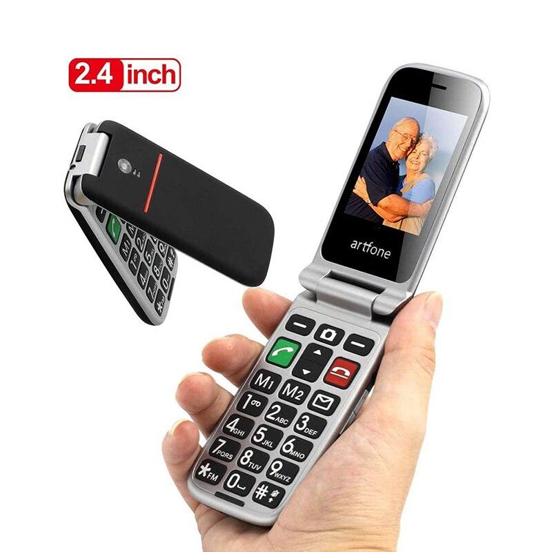 Artfone-هاتف خلوي بغطاء صدفي ، شاشة 2.4 بوصة ، لوحة مفاتيح كبيرة ، رخيصة ، لكبار السن ، هاتف محمول (2G)
