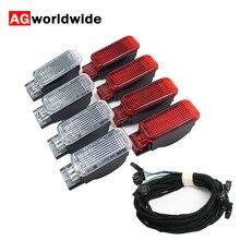Panneau de porte rouge avertissement lampe de lumière de pied + câble de harnais pour Audi A3 A4 B8 A5 A6 A7 A8 Q3 Q5 TT 8KD947411 6Y0947411 8KD947415