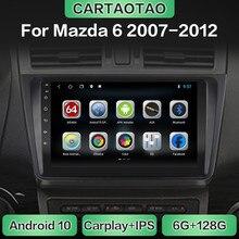 Lecteur multimédia de CarPlay de WiFi de navigation de GPS dautoradio dandroid 10 pour Mazda6 MAZDA 6 2007 2008-2012 DSP RDS IPS aucun DVD 2din