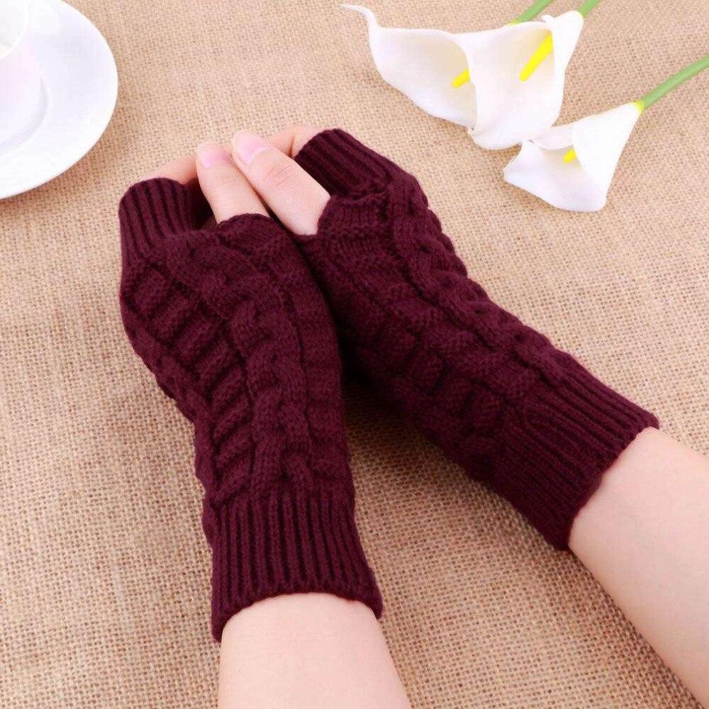 Otoño Invierno mujer cálido brazo de punto sin dedos guantes largos mitones elásticos hombres mujeres invierno brazo de mano caliente guantes femeninos