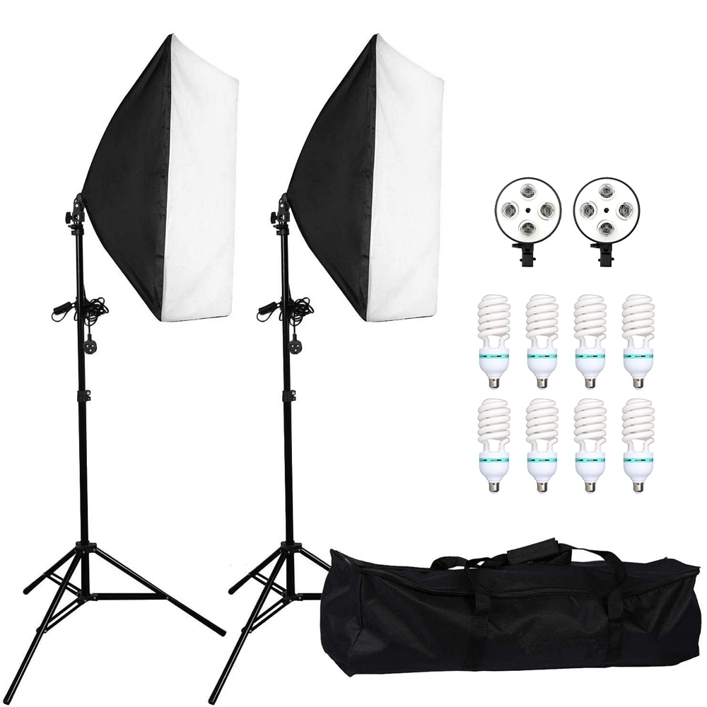 Fotografía Kit de iluminación Softbox 50x70CM profesional continua sistema de luz 135W lámpara 4 en 1 hembra 2m soporte de luz para cámara