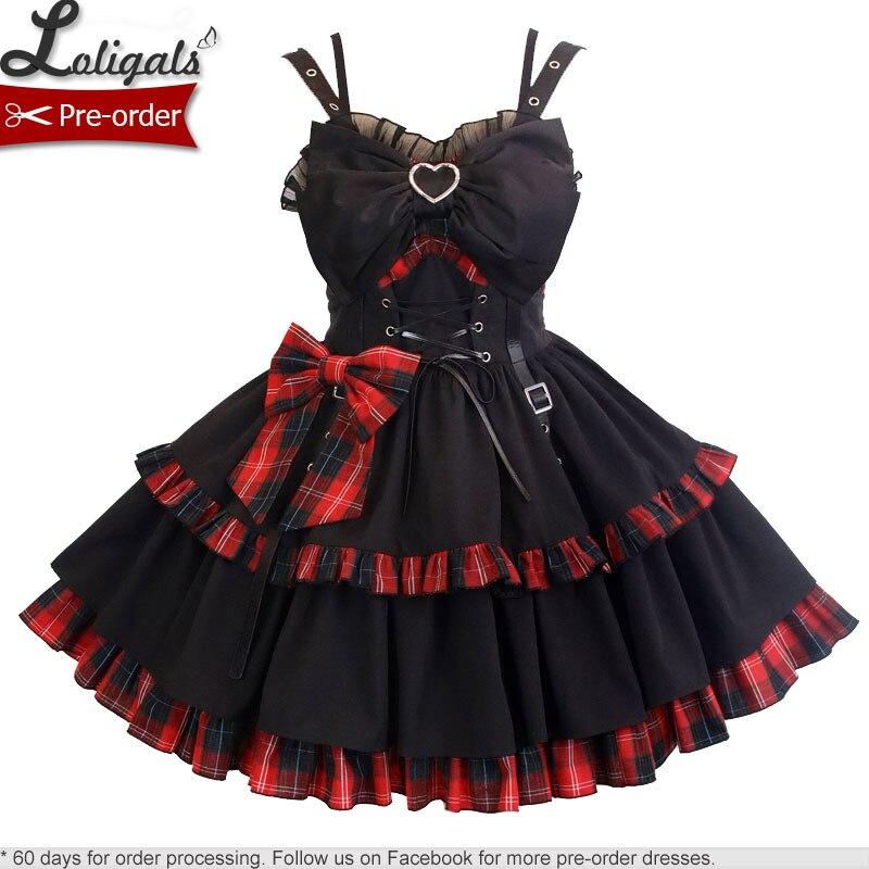 قبل الطلب ~ الشرير نمط لوليتا JSK فستان اللون منعت فستان منقوش من قبل أليس فتاة