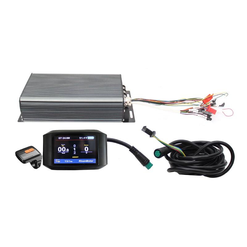 RisunMotor, pantalla a Color personalizada TFT 750C, con 48-72v, 3000-5000W, 24MOSFET 100A, controlador de función regenerativa programable