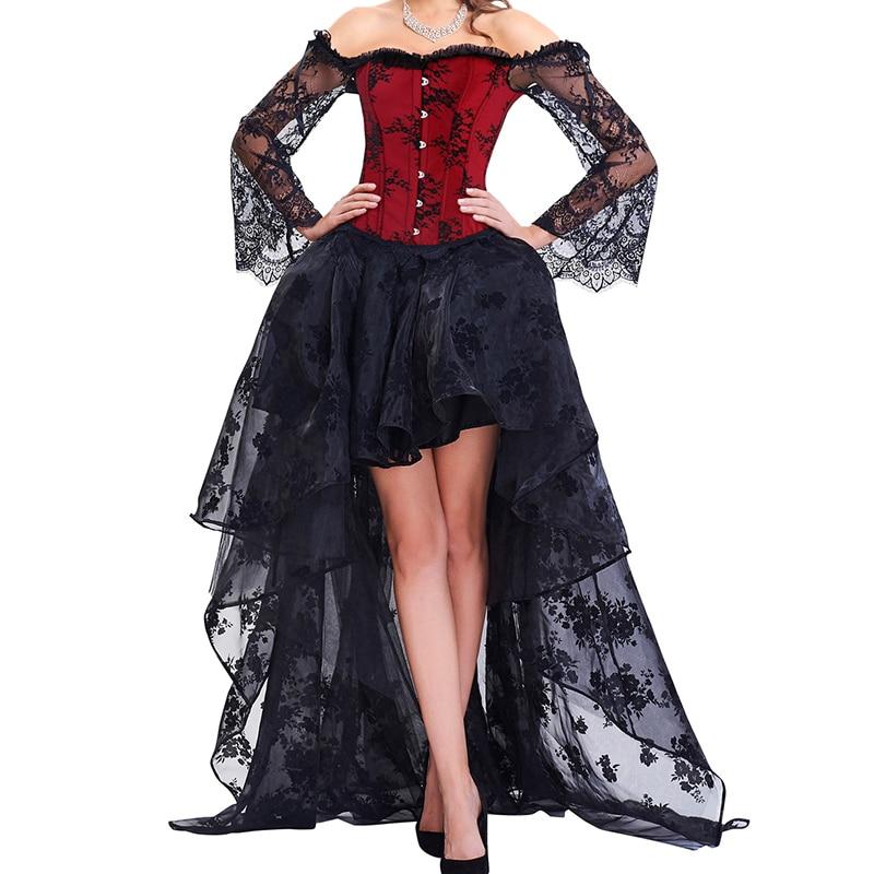Steampunk-فستان مشد قوطي للنساء ، مشد دانتيل مثير ، أكتاف عارية ، زخارف نباتية ، حفلة ، طقم تنانير علوية