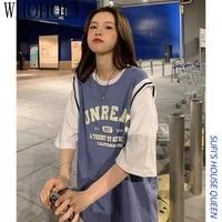 basketball fake two piece t shirt women short sleeve overszied top tees loose korean ins streetwear harajuku style half sleeve