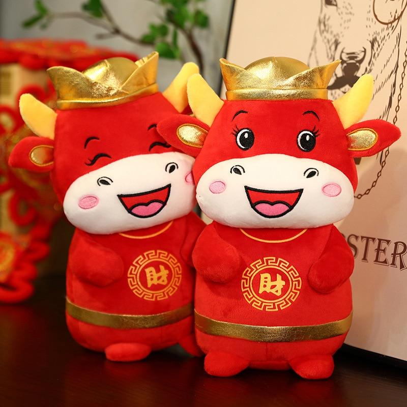 20/25cm 2021 Year Chinese Zodiac Ox Cattle Plush Toys Cute Red Milk Cow Mascot Plush Doll Stuffed Fo
