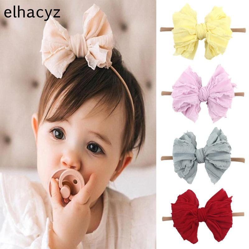 NEW Summer Cute Soft Lace Bow Baby Nylon Headband Girls Hair Band Fashion Newborn Infant Hair Bows K