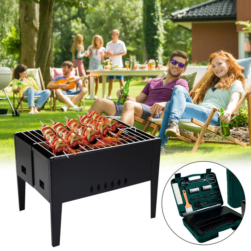 Barbecue Grill Picnic Barbecue Set Folding BBQ Grill With Barbecue Accessories Tools Set For Outdoor