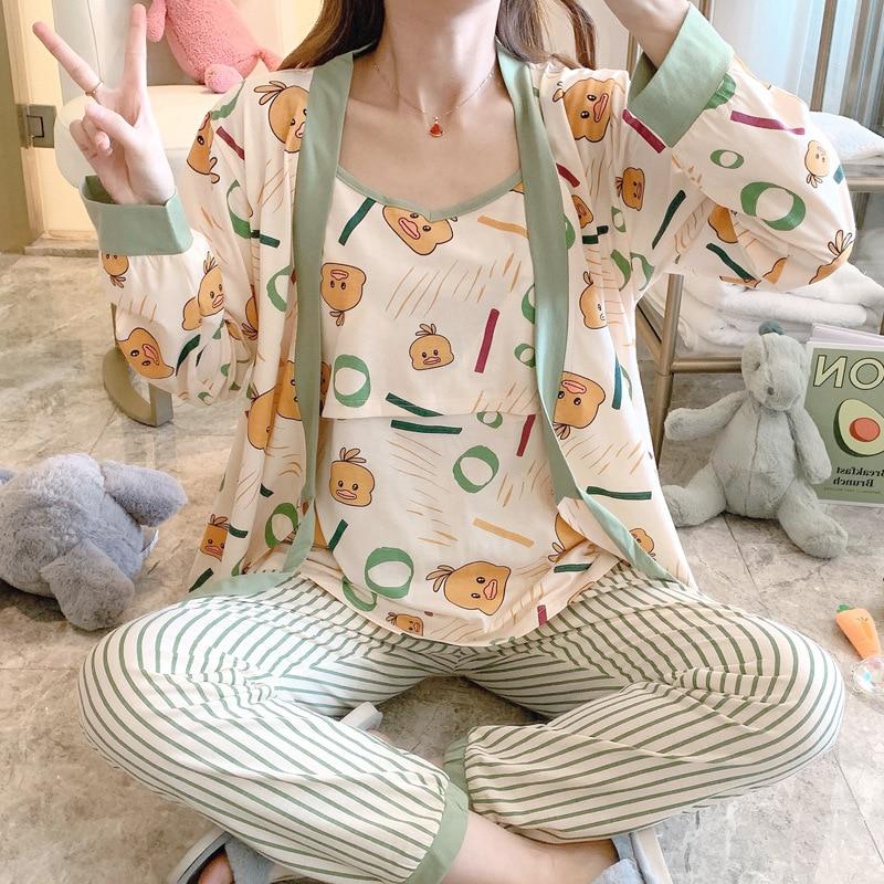 Pregnant Women Winter Sets Pyjama Maternity Set Clothes Cotton Breastfeeding Sleepwear Maternity and Nursing Top and Pant Set
