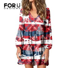 FORUDESIGNS Women's Casual Dresses Christmas Tree And Reindeer Printed V-Neck Loose High Quality Flo