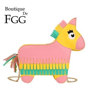 Boutique De FGG Novelty Horse Pony Shape Faux Leather Shoulder Bags Tassel Women Crossbody Bag Girls Messenger Handbags Purses
