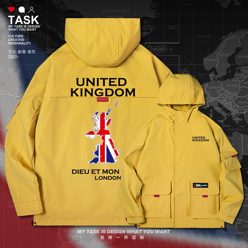 UK United Kingdom of Great Britain UK men jacket hooded map nation flag mens fashion streetwear new printed top autumn clothes