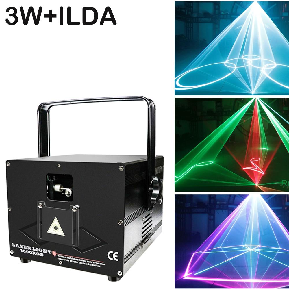 Сценический лазерный светильник ILDA 3 Вт с 3D сканированием, профессиональный мощный луч для свадебной вечеринки, освещение DMX для диджея, дис...