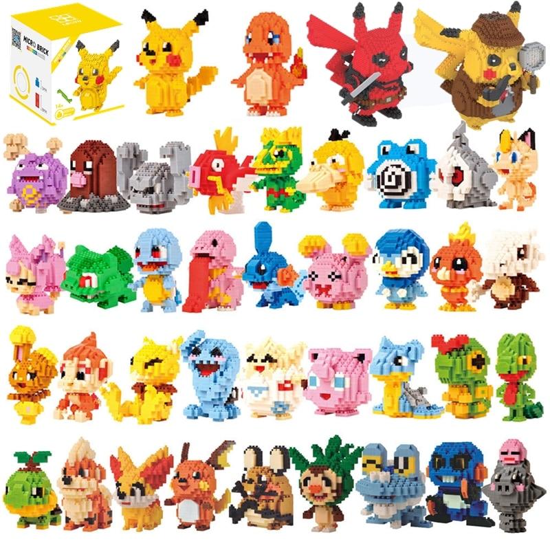 34 styles Pokemon Blocks Small Cartoon Picachu Animal Model Education Game Graphics Bricks Toys