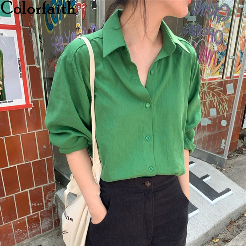 Colorfaith New 2020 Women Summer Autumn Blouses Shirts Buttons Casual Vintage Cotton and Linen Oversize Office Wild Tops BL1756
