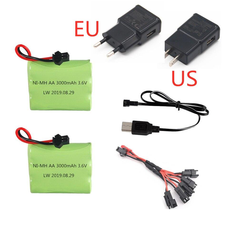 Batería Ni-MH 3,6 v 3000mah + cargador USB para tanques de Robots de control remoto, tren, armas, barcos AA 3,6 v 2400mah, paquete de batería recargable