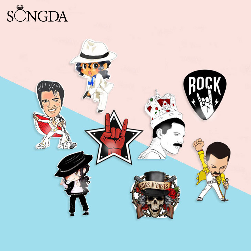 Freddie Mercury Band Photo Brooches Pins Acrylic Elvis Queen Band Rock Singer Cool Gesture Photo Lapel Pin Badge For Fans Gifts