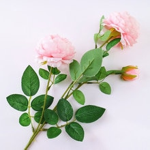 Pivoine artificielle 3 têtes 1 pièce   Décoration de mariage, fleurs réalistes pour branches, décoration de maison, fausses fleurs