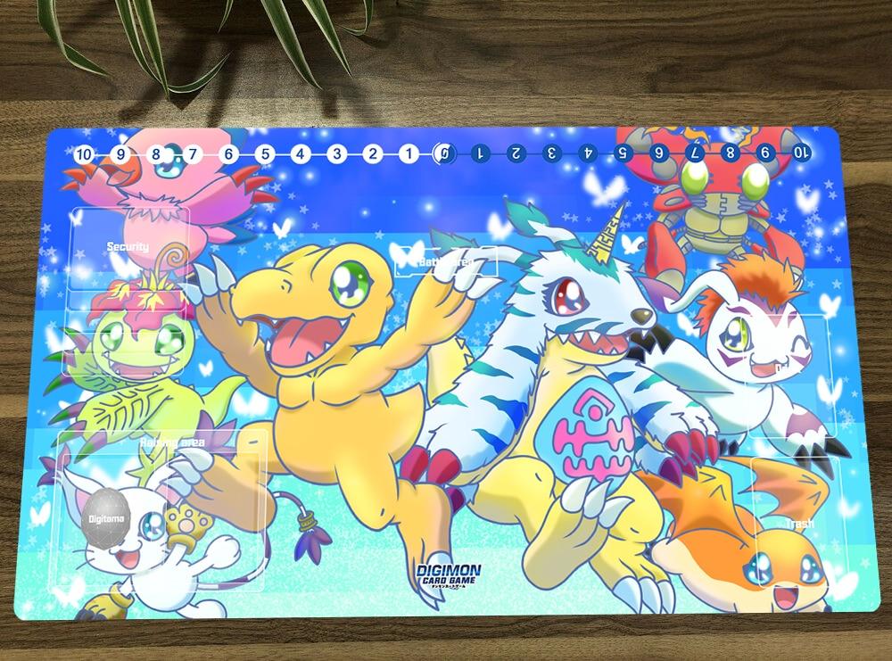 Digimon Adventure Duel Playmat TCG CCG Mat Trading Card Game Mat Mouse Desk Pad DTCG Gaming Play Mat & Card Zones Free Bag