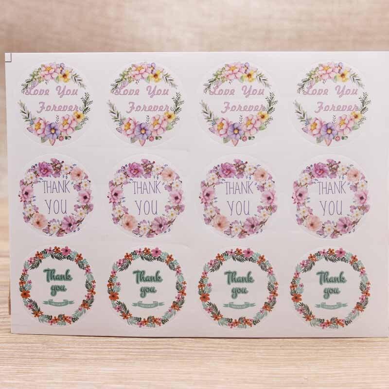 Nueva venta 100 Uds. Forma redonda diferentes gracias Flores-hojas-pegatina Bala-Diario-Suministros diario de recortes lindo papelería