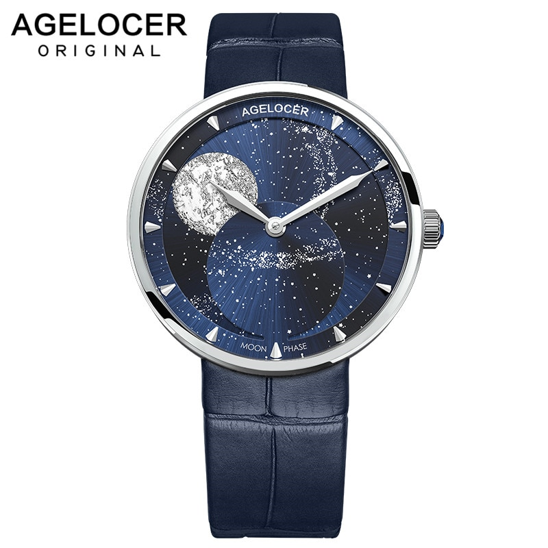 AGELOCER Swiss Brand Ladies Real Moonphase Watch Women Sapphire Waterproof Blue Leather Wrist Watches Moon phase Bracelet 6504A1
