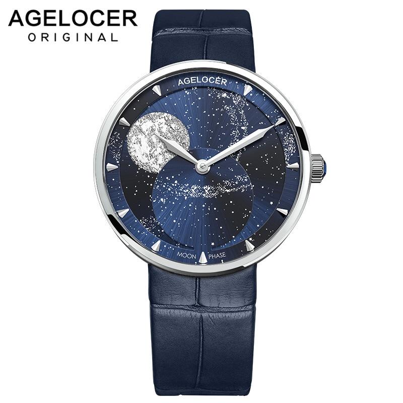 AGELOCER العلامة التجارية السيدات ريال Moonphase ساعة المرأة الياقوت مقاوم للماء الأزرق جلدية ساعات المعصم القمر المرحلة سوار 6504A1