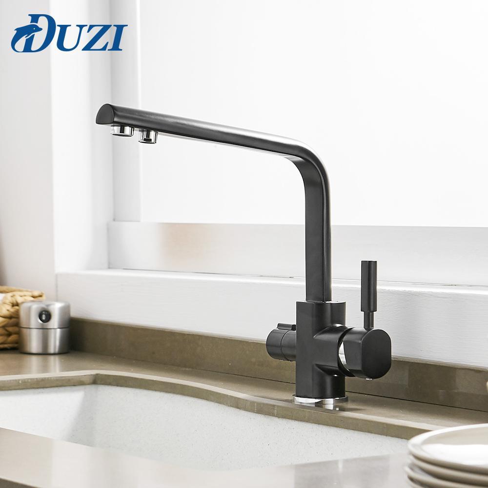 Grifo de cocina de latón, rotación de 360 grados con purificación de agua, mezclador, repisa de lavabo, grifo de cocina de agua caliente y fría