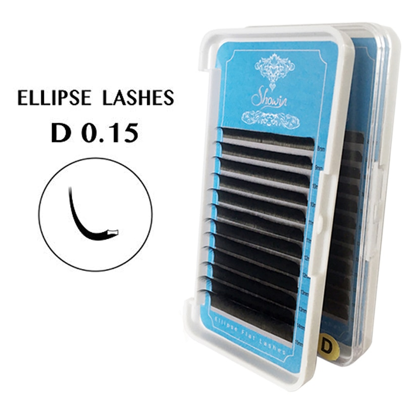 5 Case0.15mm Eyelashes 3D Mink Lashes Ellipse Eyelash Extensions Split Tips Ellipse Shaped Natural Light False Ellipse Eyelashes