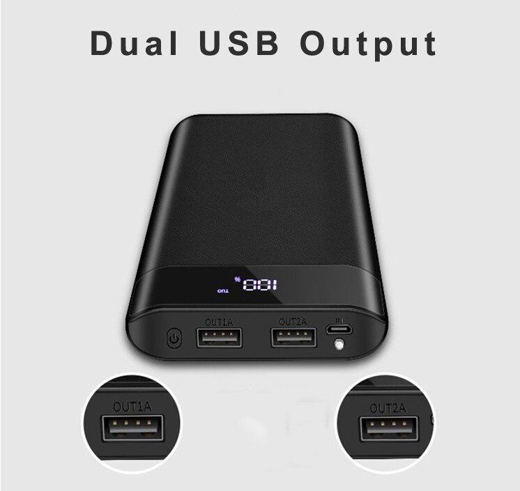 Leory 20000mah dupla usb caso de energia móvel grande capacidade de saída display led caixa de energia móvel pode carregar rapidamente todo o telefone