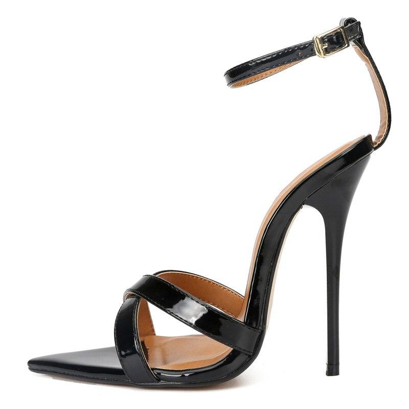 Stilettos Sandals Plus47 48 Summer Ankle Strap Ladies shoes woman sexy 14cm Thin High-Heeled Crossdresser Buckle Dance Pumps