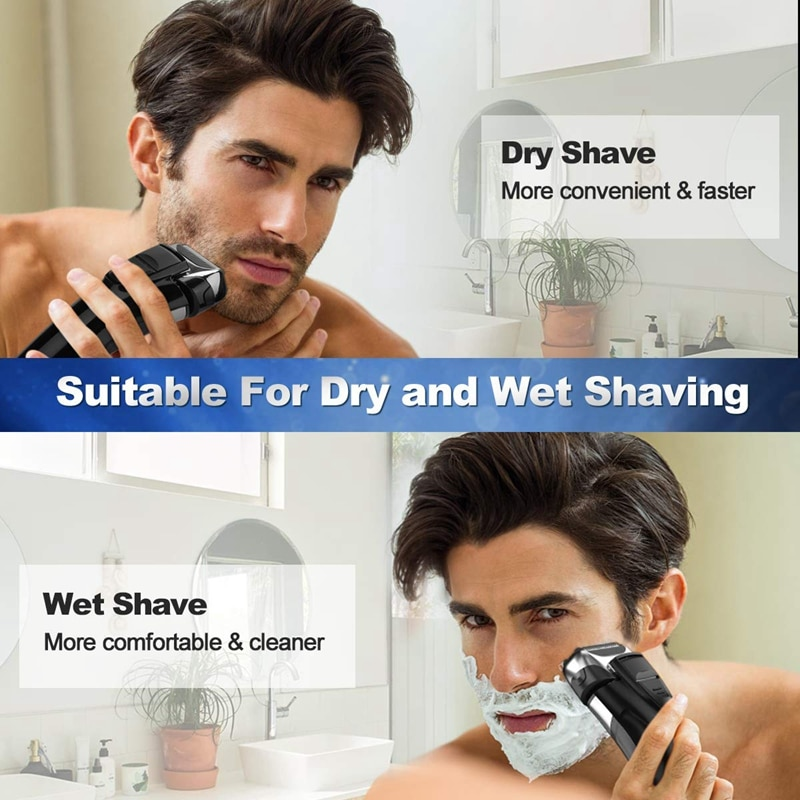 Electric Shaver Men Reciprocating Three Heads Razor Rechargeable Cordless Beard Trimmer enlarge