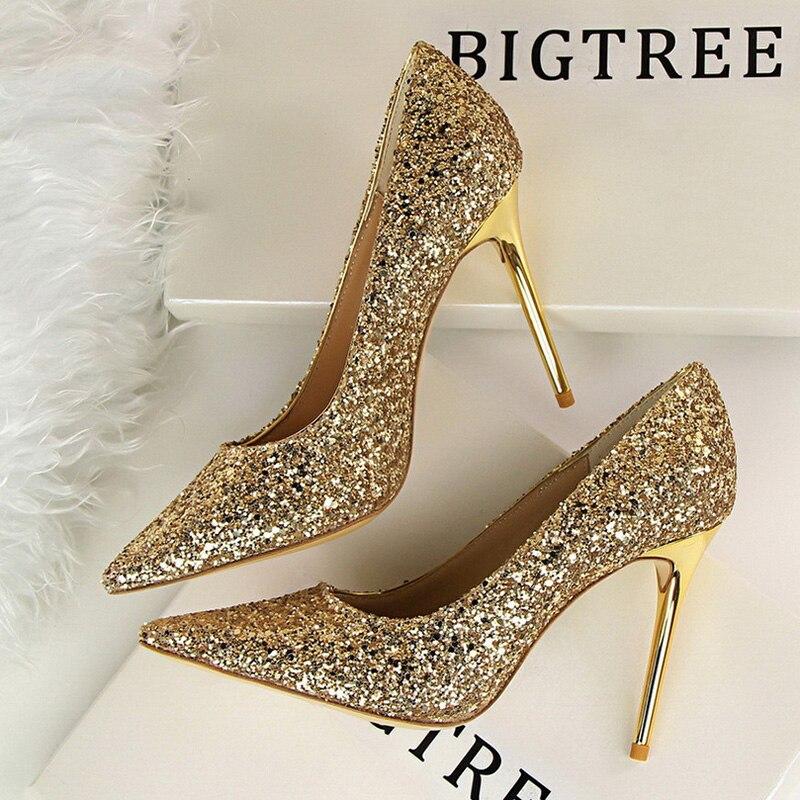 Zapatos Bigtree para mujer, zapatos de tacón alto con diamantes de imitación para mujer, zapatos de tacón para mujer, zapatos de boda de señora ostentosos, Tallas grandes