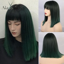 앨런 EATON 여성 중간 스트레이트 합성 가발 프린지/bangs와 고온 머리 믹스 그린 블랙 보보 로리타 코스프레 가발