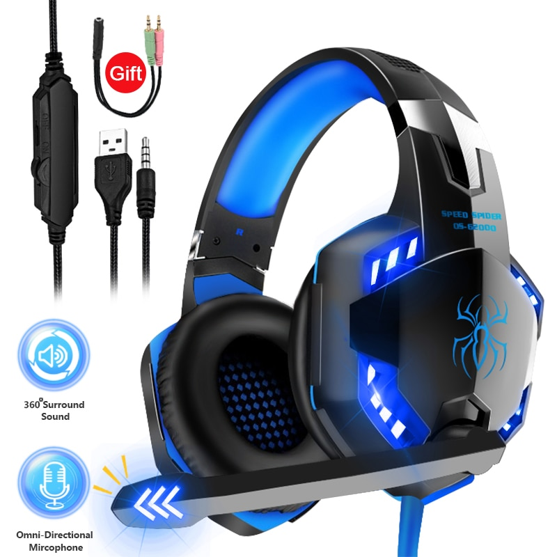 Professional Gamer Headphones LED Light Stereo Gaming Headset for PS5 PS4 FiFa 21 Xbox One PC with Noise-Cancelling Microphone
