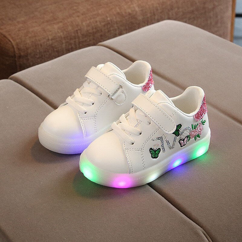 kids shoes Children's sneakers with lights girls autumn Casual glowing sports shoes Flower Child led sneakers 1 2 3 4 5 6 years