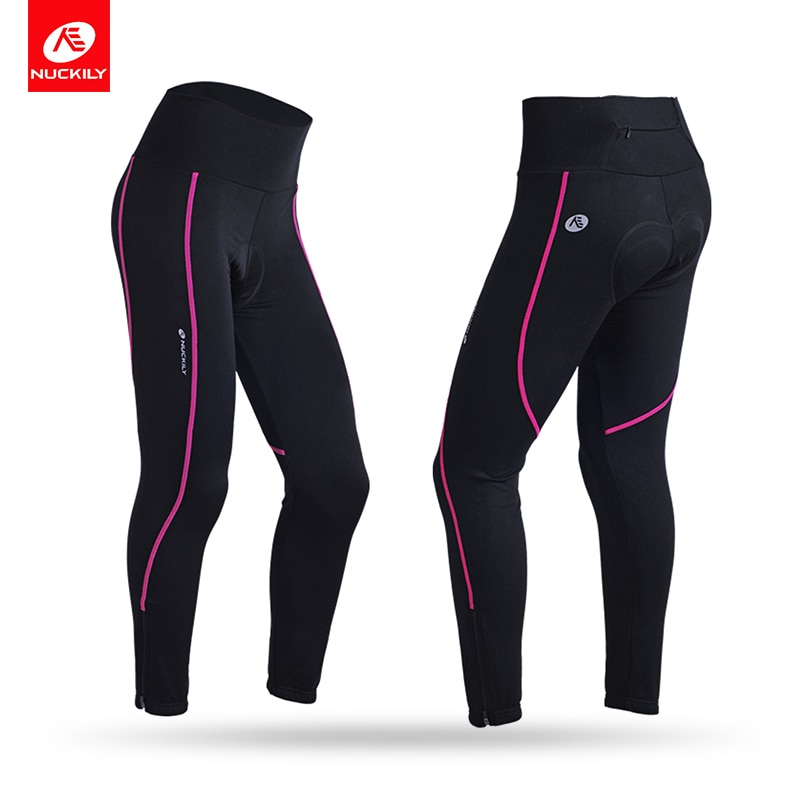 NUCKILY Women's Cycling Pants Spandex Bicycle Tights Slim Breathable Road Bike Long Pants for Spring/Autumn GM001
