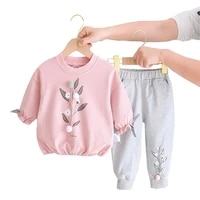 1 4yeae old spring autumn children two piece cartoon printed boys girls sweater jacket pants fashion new quality kids clothing