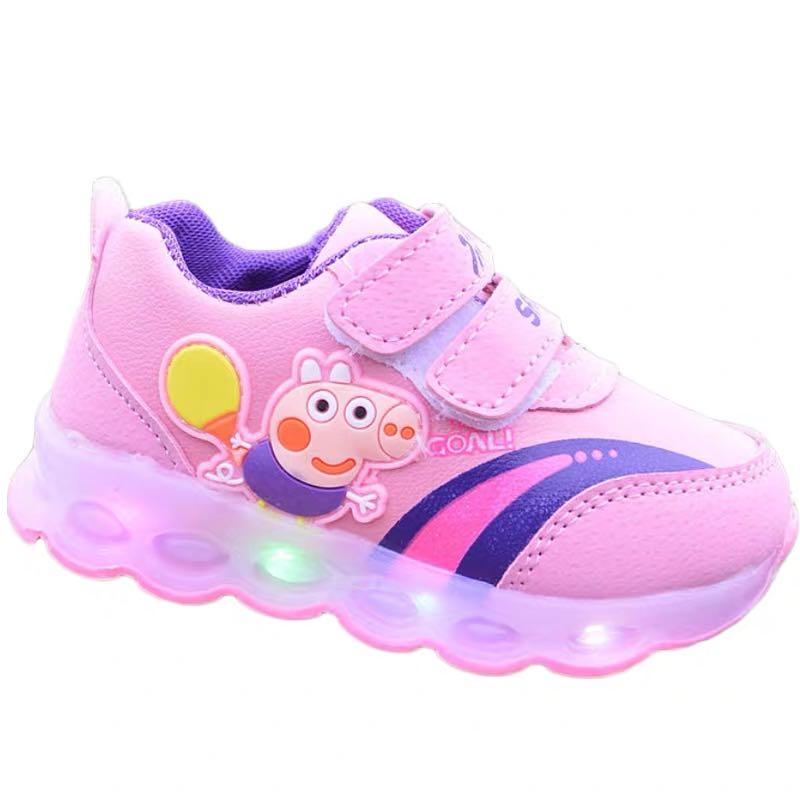 Peppa pig george luz led crianças sapatos meninos meninas primavera esporte tênis casuais da criança infantil do bebê ao ar livre fivela sapatos
