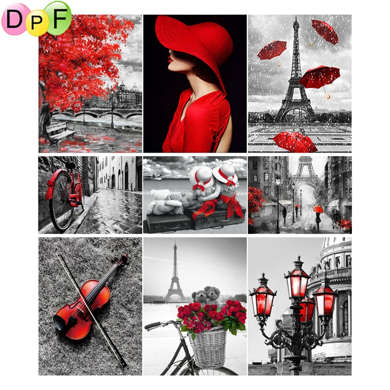 DPF 5d diy round full Diamond embroidery Red and black series diamond painting Cross Stitch Rhinestone mosaic home decoration