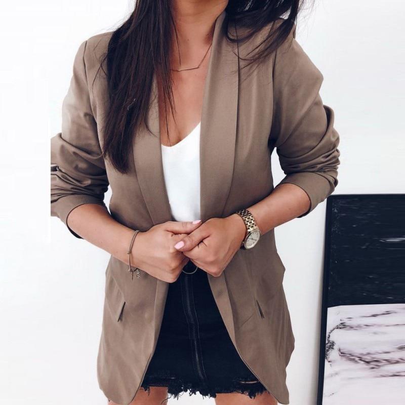 Women Autumn Slim Blazers Coats 2019 Female Work Office Lady Suit Pocket Blazers