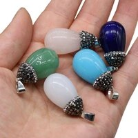 natural stone round drop shaped pendant for jewelry making diy bracelet necklace earring accessories women gift size 16x30mm